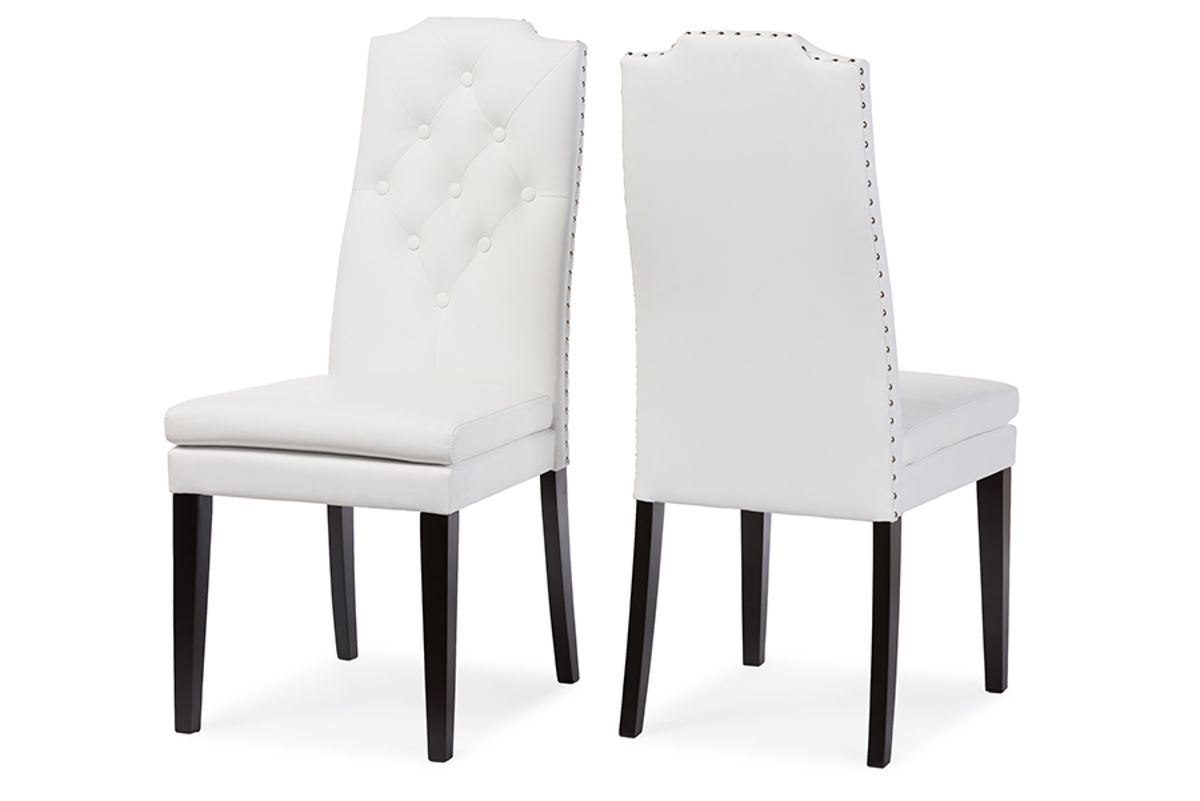 2 Baxton Studio Dylin White Faux Leather Button Tufted Back Dining Chairs