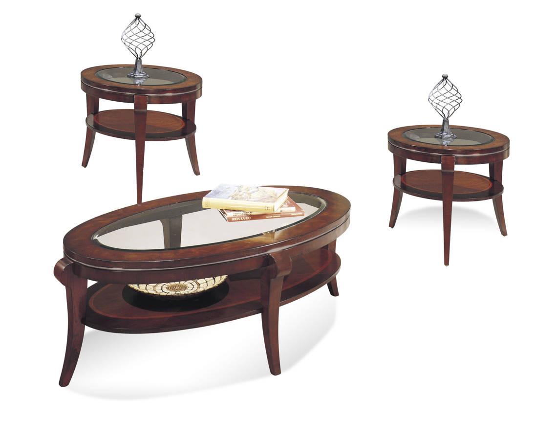 . Ashland Heights Modern Cherry Wood Glass 3pc Coffee Table Set   The