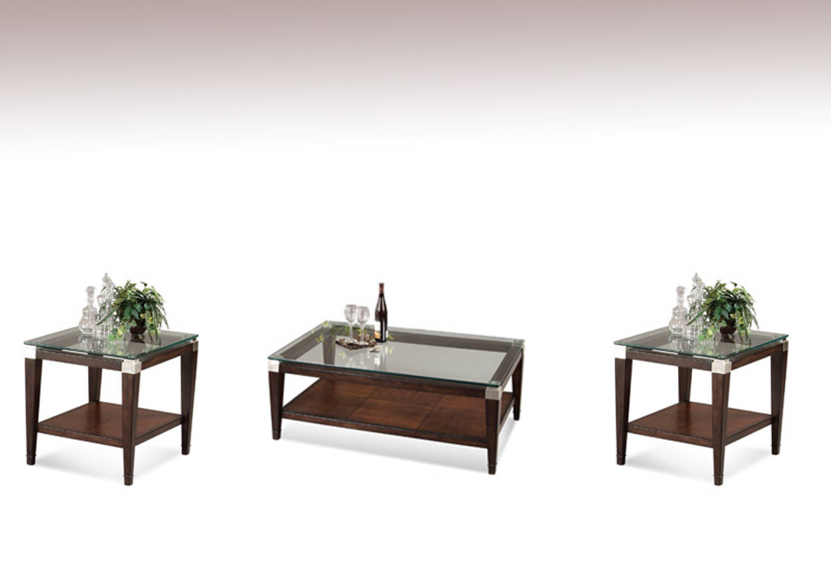 Dunhill Cappuccino Wood Glass Coffee Table Set Occasional Tables The Classy Home Best Deal