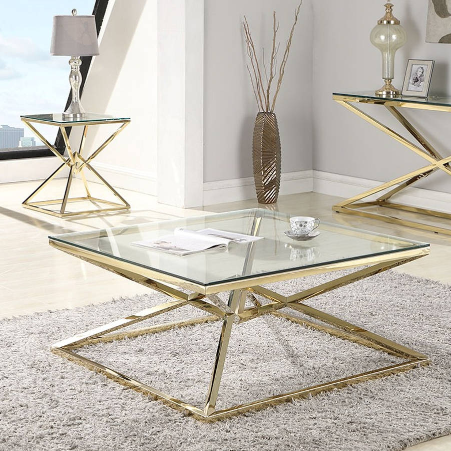Gold Coffee Table Set Table Design Ideas