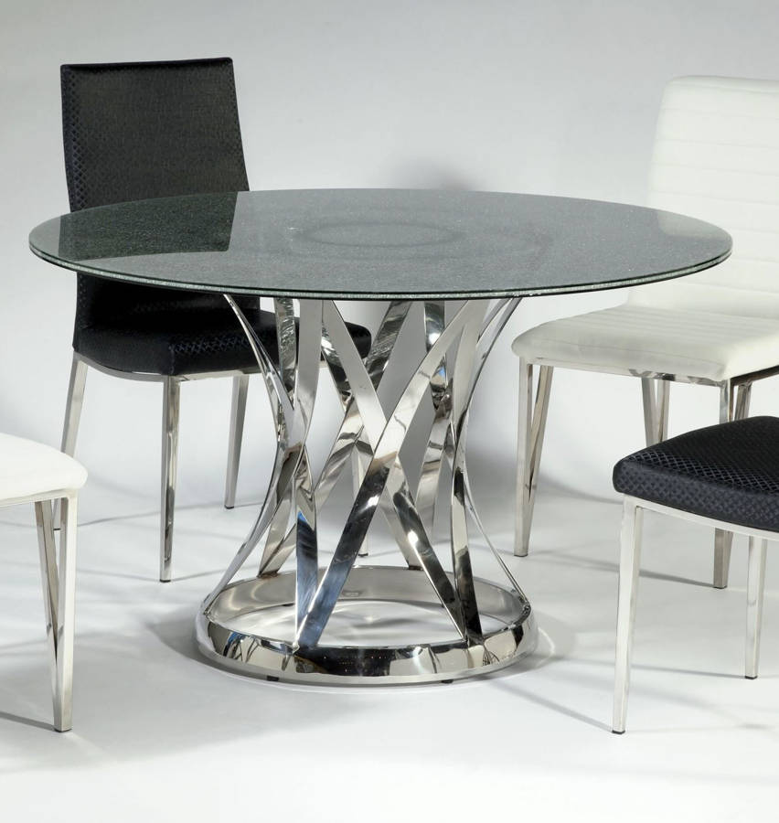 Janet Glass Stainless Steel Dining Table W/48 Inch Sandwich Glass Top | The  Classy Home