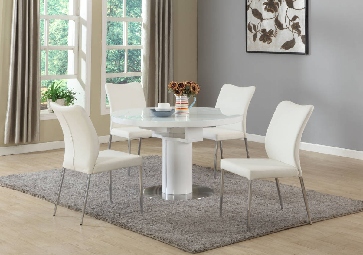 Nora White Wood Pu Round Dining Room Set Kitchen Dining