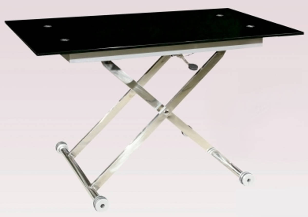 Sherry chrome adjustable height cocktail table base the for Height of cocktail tables