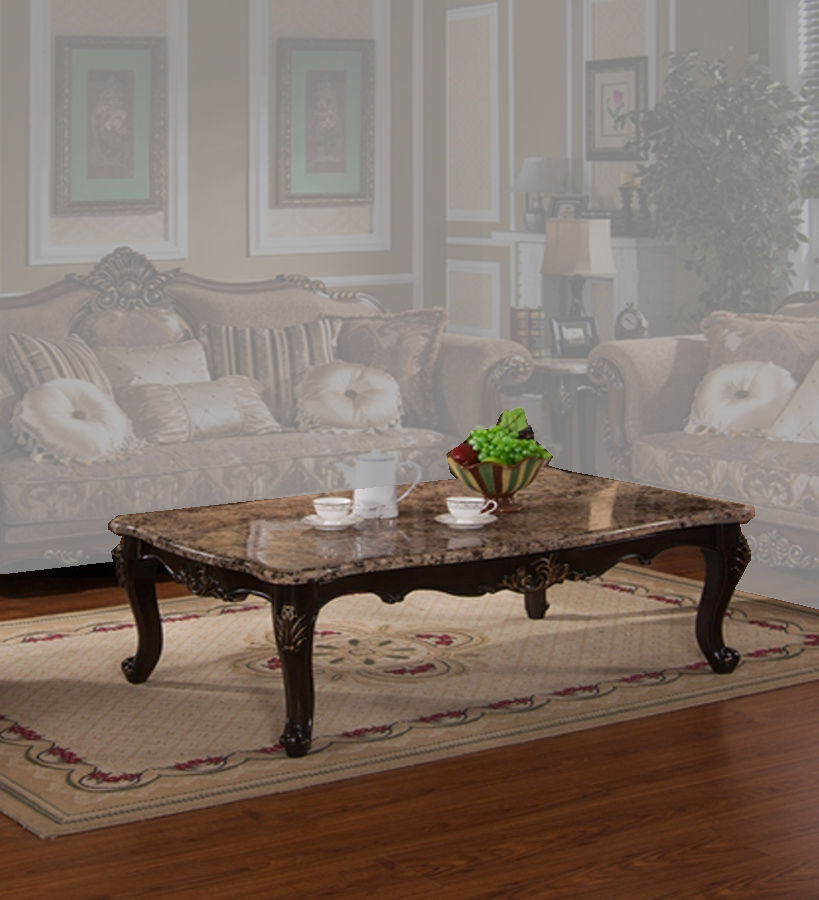 Cecilia Clic Brown Wood Marble Top Coffee Table