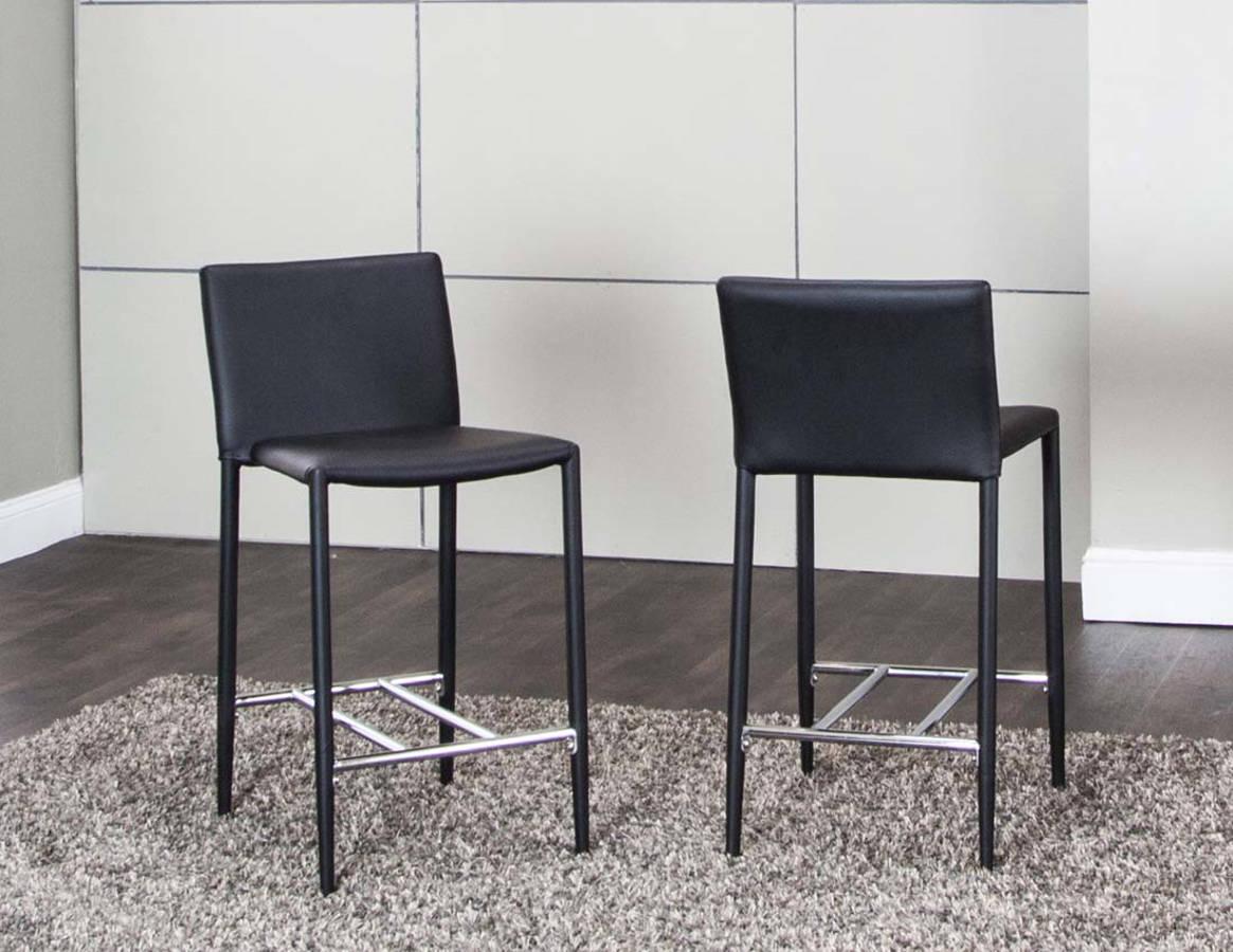 Pleasant 2 Abbott Black Pu Chrome 24 Inch Counter Stools The Classy Evergreenethics Interior Chair Design Evergreenethicsorg