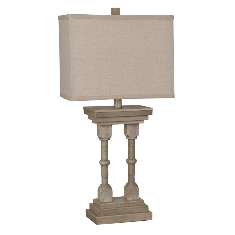 Crestview Collection Oatmeal Square Shade Table Lamp The Classy Home