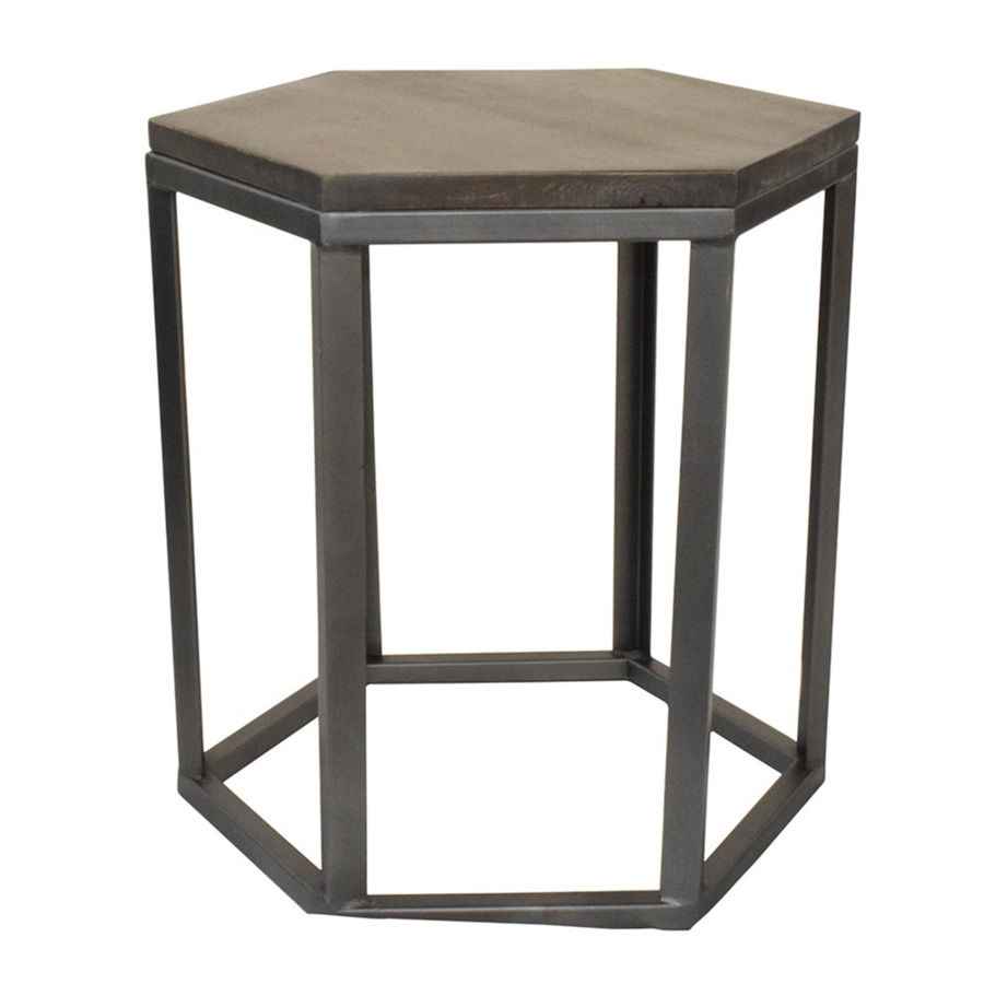 Crestview Collection Bengal Manor Grey Hexagon End Table | The Classy Home