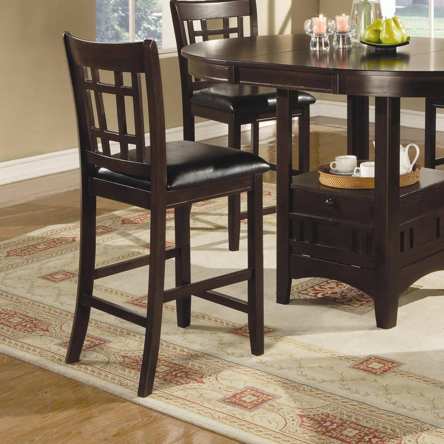 2 Coaster Furniture Cappuccino Dark Brown Wood Bar Stools