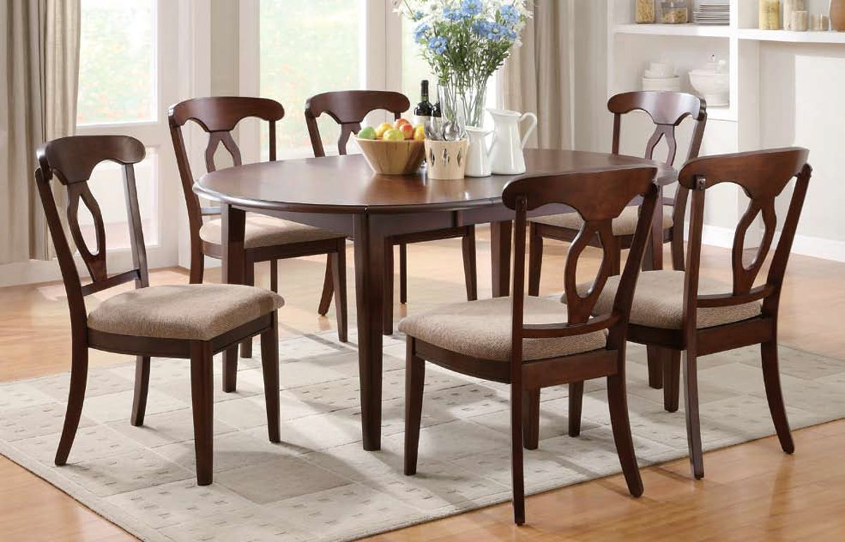 liam red brown wood fabric dining room set the classy