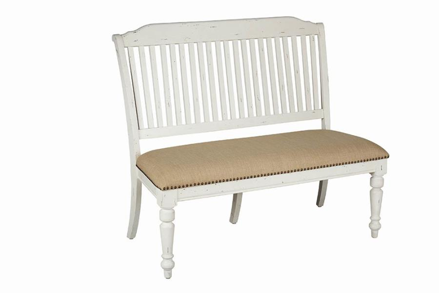 Awe Inspiring Coaster Furniture Simpson Barley White Fabric Bench Machost Co Dining Chair Design Ideas Machostcouk