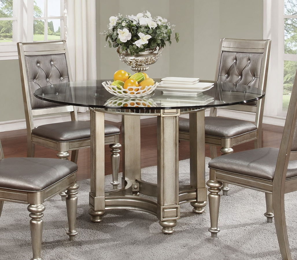 danette traditional metallic wood round dining table click to enlarge loading
