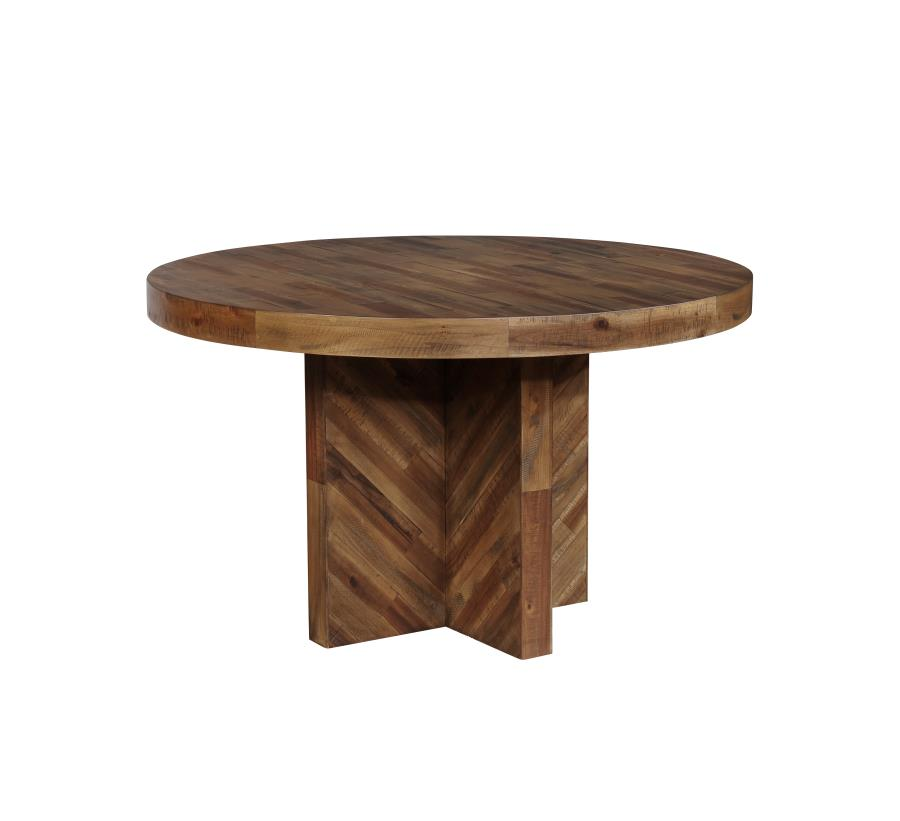 Coaster Furniture Tucson Natural Solid Wood Round Dining Table The Cly Home