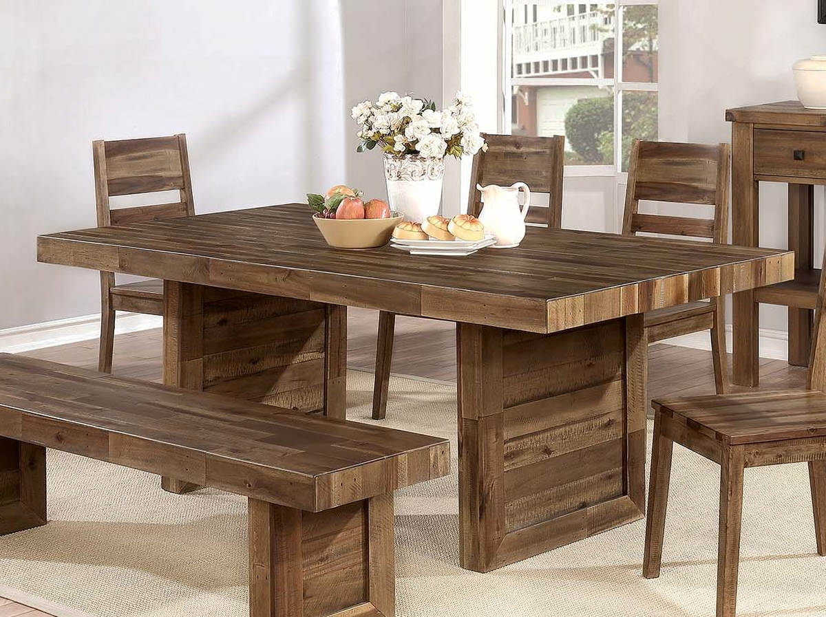 Coaster Furniture Tucson Natural Solid Wood Dining Table