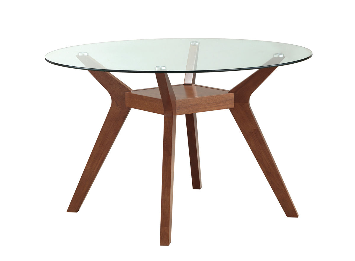 paxton modern nutmeg wood glass round dining table the classy home. Black Bedroom Furniture Sets. Home Design Ideas