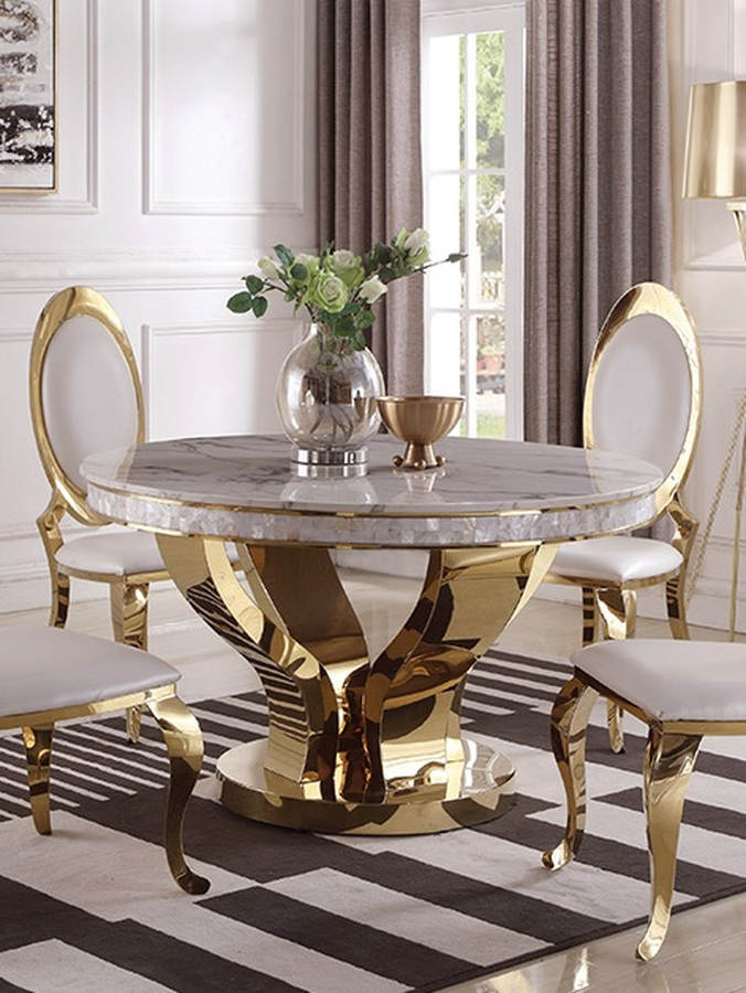 Coaster Furniture Kendall Gold Dining Table The Classy Home