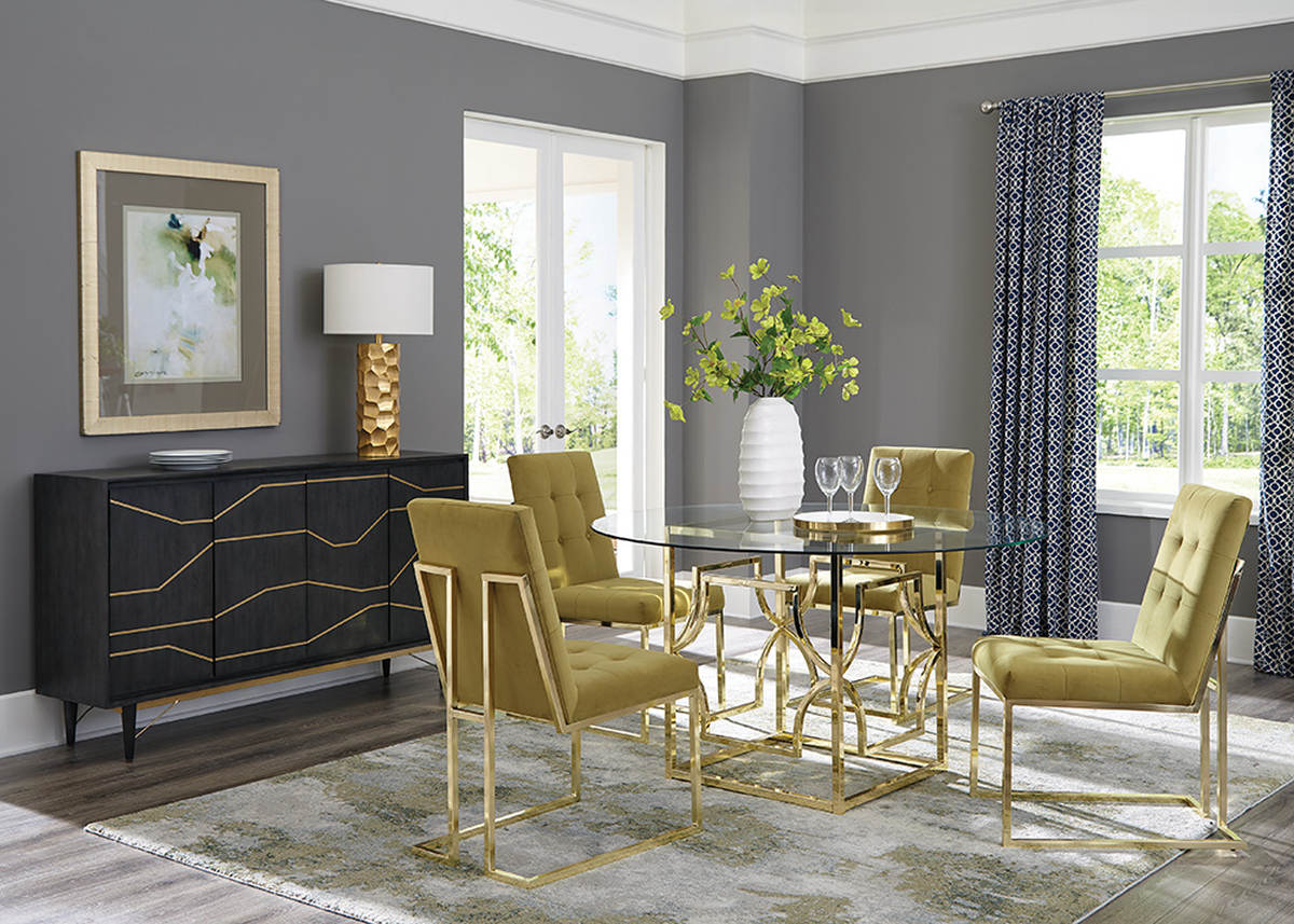 Coaster Furniture Evianna Clear Mustard Gold 5pc Dining Room Set The Cly Home