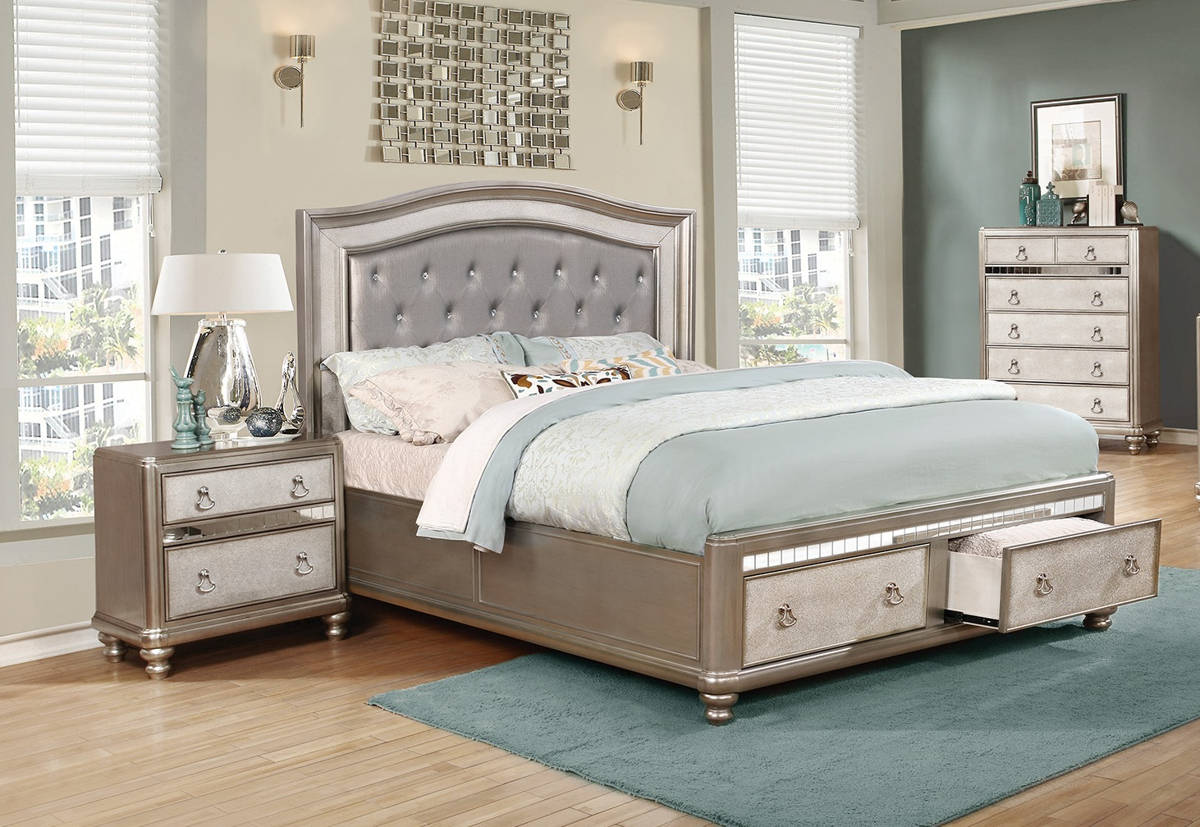 Coaster Furniture Bling Game 2pc Bedroom Set With Cal King Bed The Classy Home