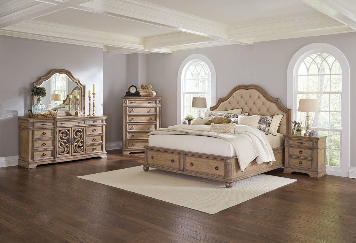 ilana cream java pine wood master bedroom set bedrooms 12277 | cst 205070 207055