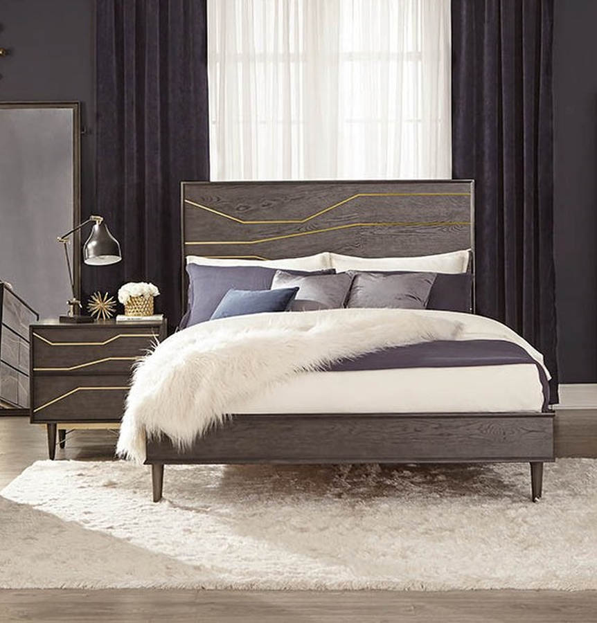 Coaster Furniture Tara Dark Graphite 2pc Bedroom Set with Queen Bed ...