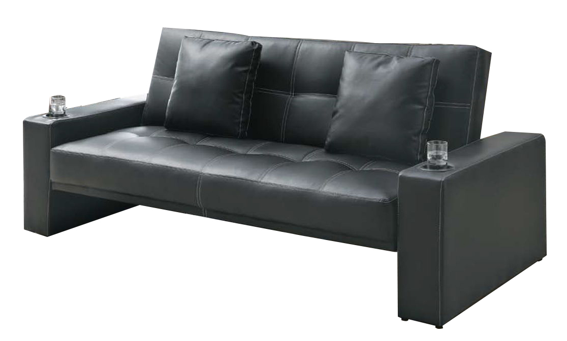 Coaster Furniture Black Faux Leather Sofa Bed | The Classy Home