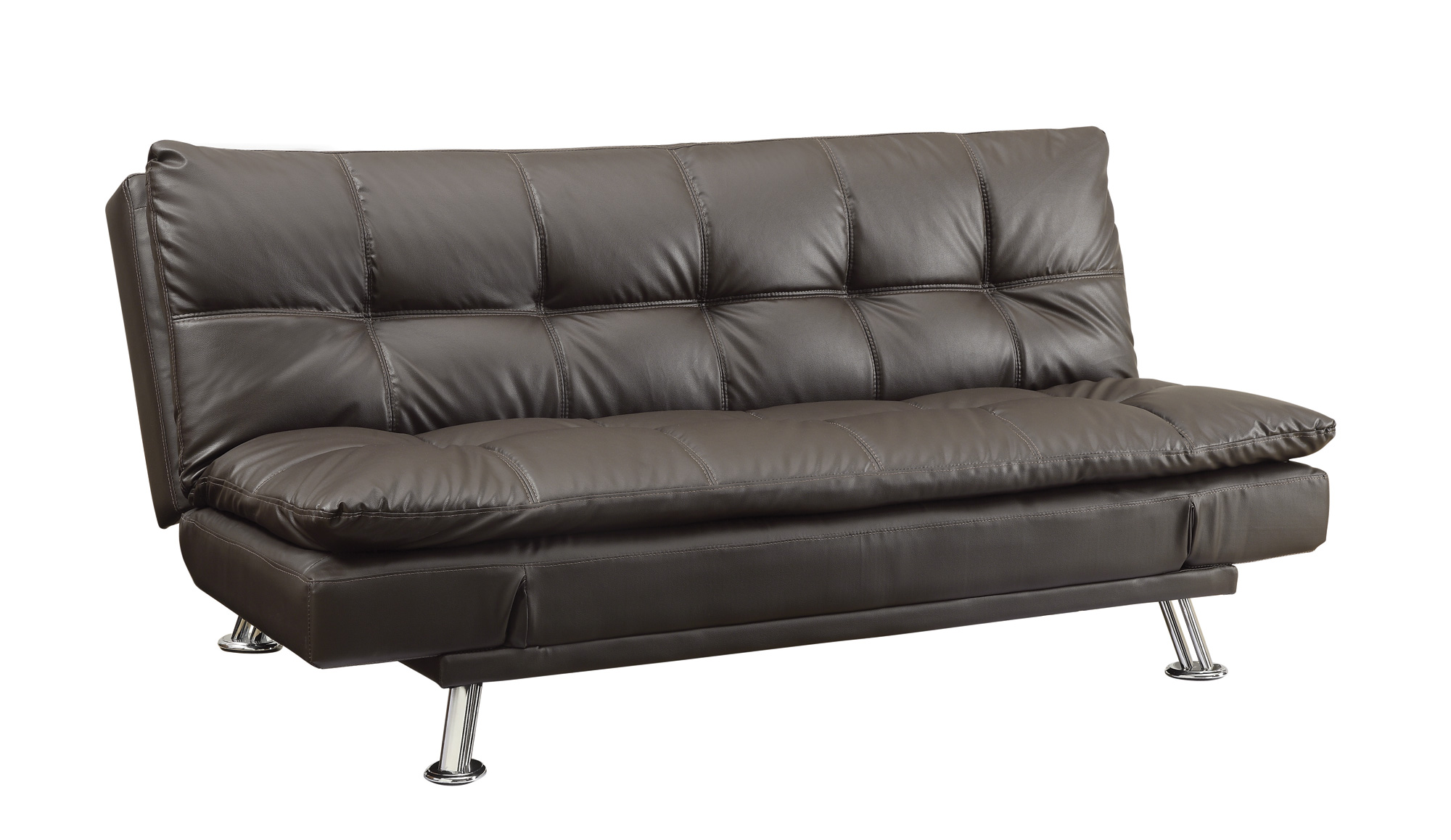 Dilleston Contemporary Brown Faux Leather Chrome Sofa Bed