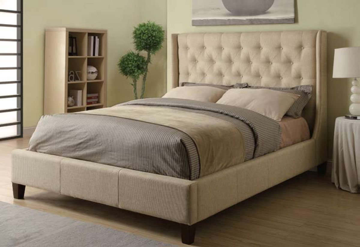 coaster furniture owen oatmeal wood fabric king bed the classy home - King Mattress Sale