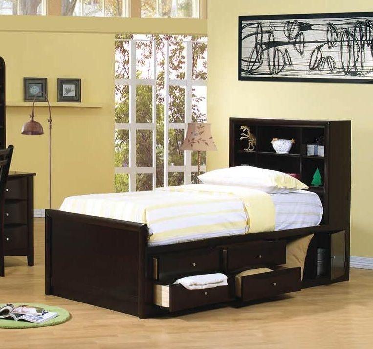 Phoenix Storage Bedroom Set From Coaster 200409: Coaster Furniture Phoenix Cappuccino Twin Platform Storage