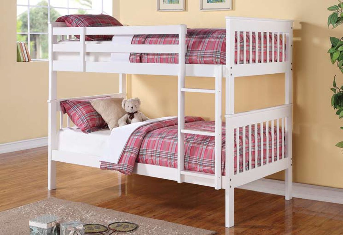 Coaster Furniture Chapman White Wood Twin Over Bunk Bed With Trundle