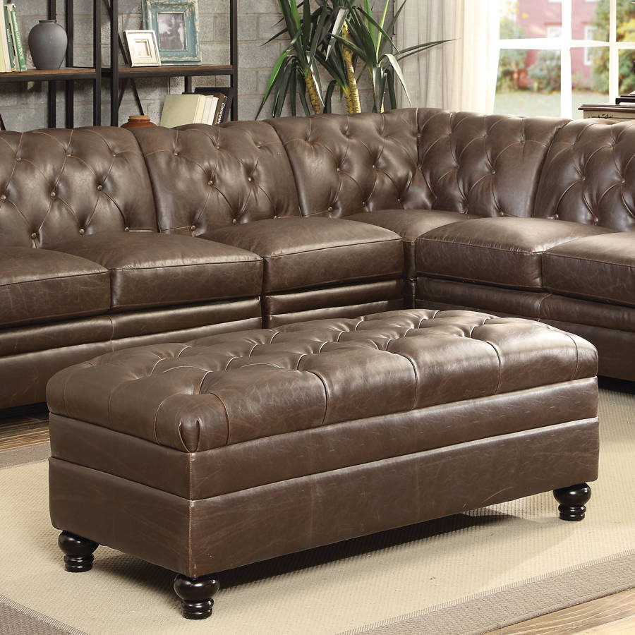 Roy Traditional Brown Leather Match Ottoman CST-500269