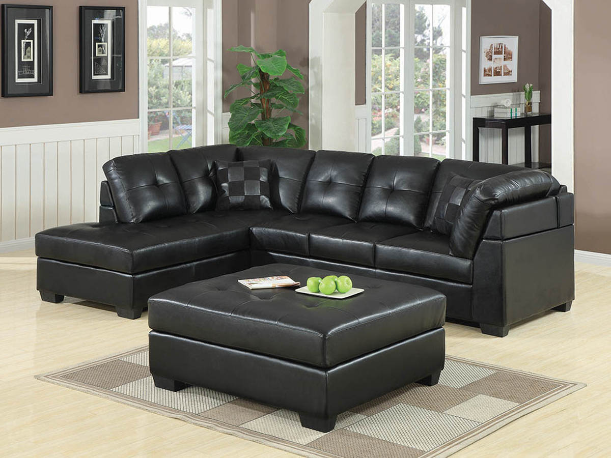 Coaster Furniture Darie Black Faux Leather Sectional with Ottoman