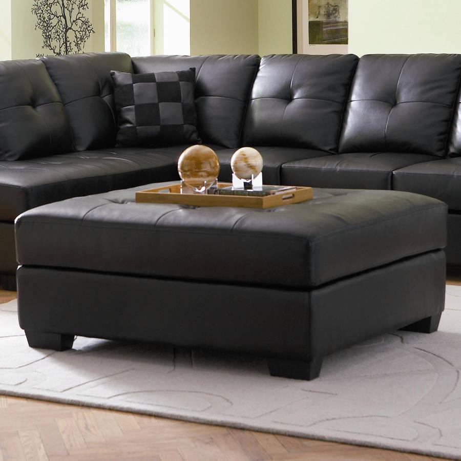 Coaster furniture darie black faux leather ottoman the classy home