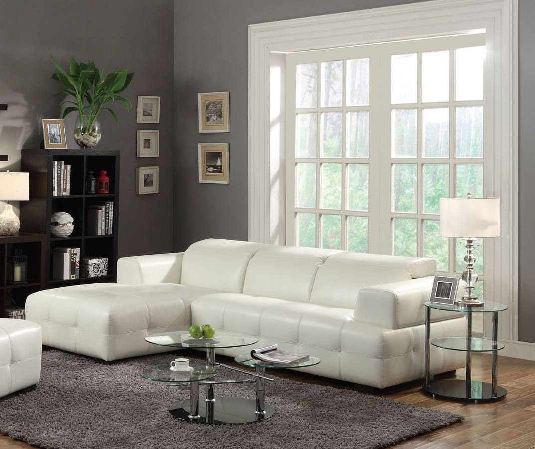 Darby Contemporary White Wood Leather 2pc Sectional CST-503617