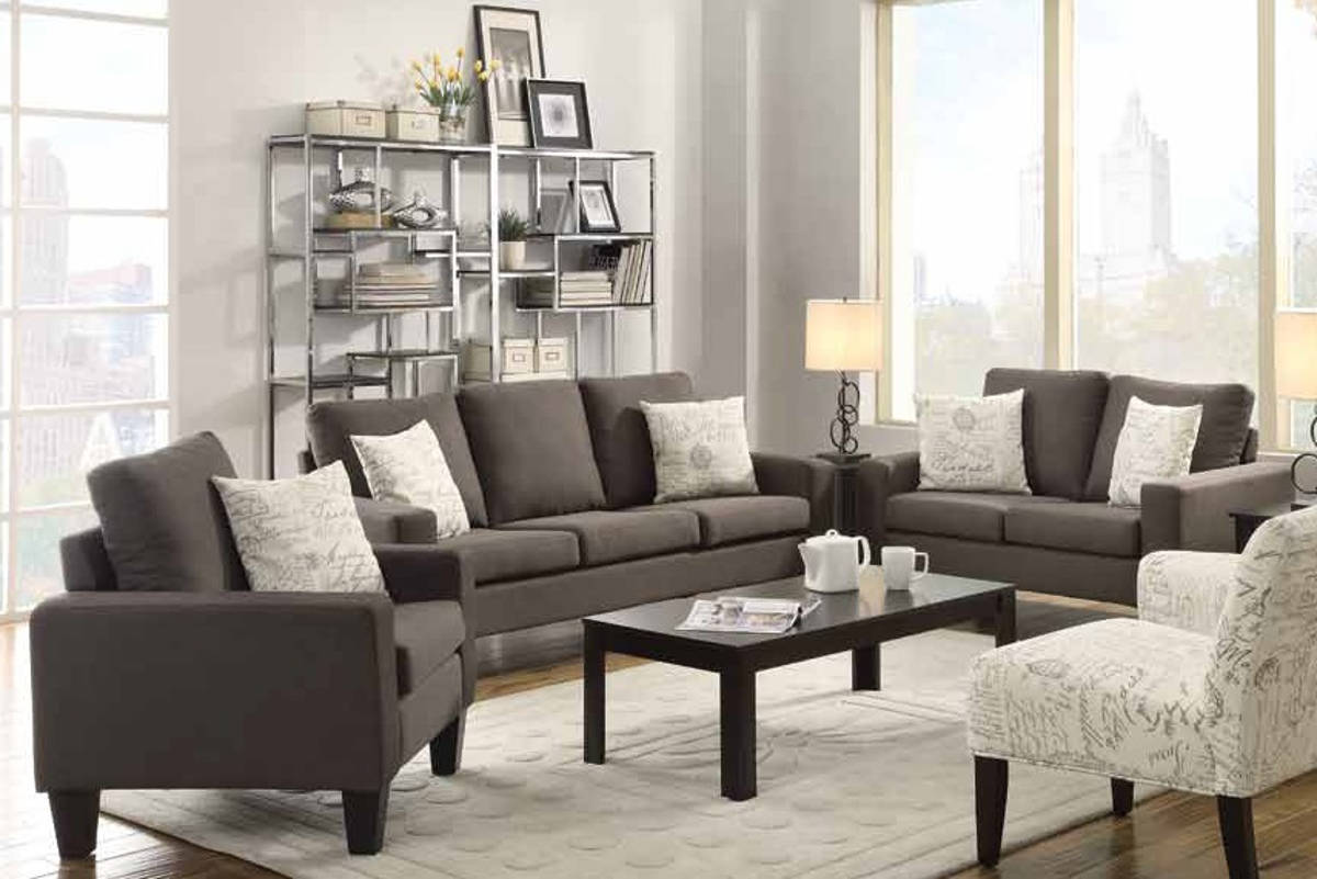 Bachman casual fabric wood living room set living rooms for Deal rooms furniture