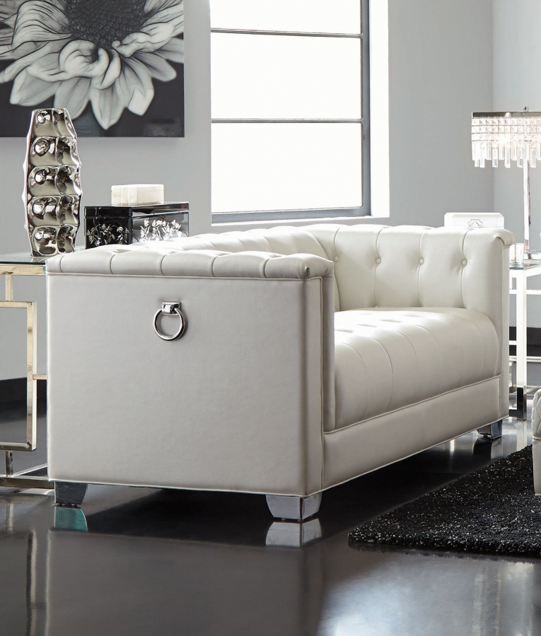 Miraculous Coaster Furniture Chaviano White Tufted Loveseat Alphanode Cool Chair Designs And Ideas Alphanodeonline