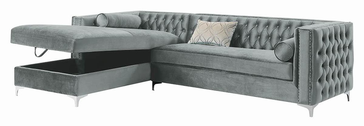 Pleasing Coaster Furniture Bellaire Silver Velvet Sectional Ibusinesslaw Wood Chair Design Ideas Ibusinesslaworg