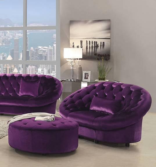 Romanus Traditional Purple Velvet Tufted Chair Amp Ottoman