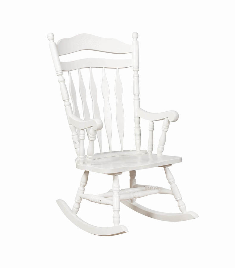 Groovy Coaster Furniture White Rubberwood Rocking Chair Caraccident5 Cool Chair Designs And Ideas Caraccident5Info