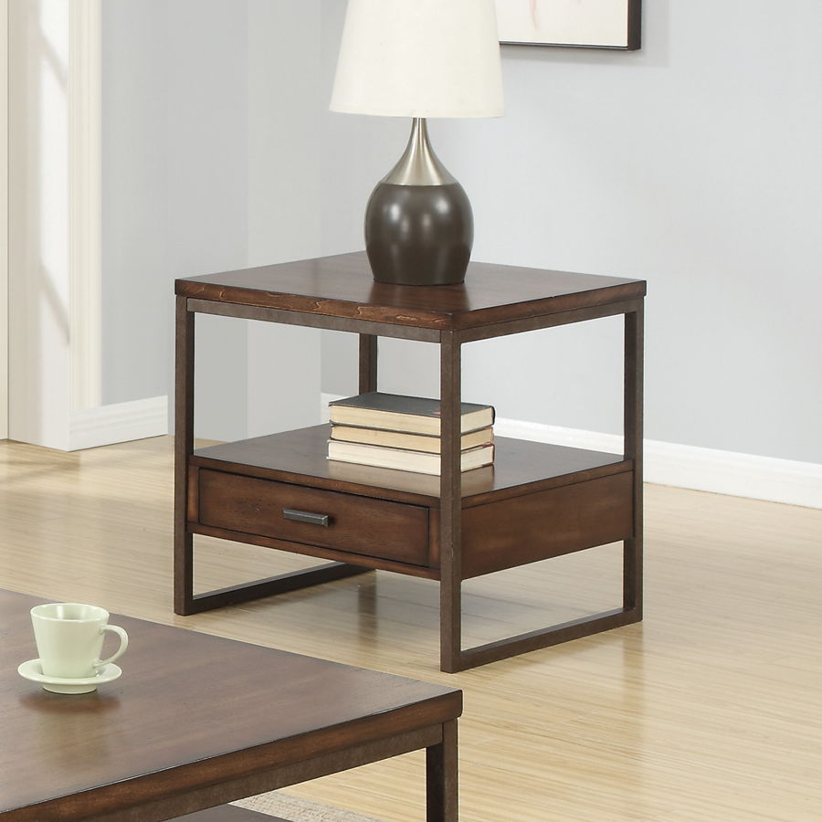 brown wood metal end table w lower shelf storage drawers occasional tables the classy home. Black Bedroom Furniture Sets. Home Design Ideas