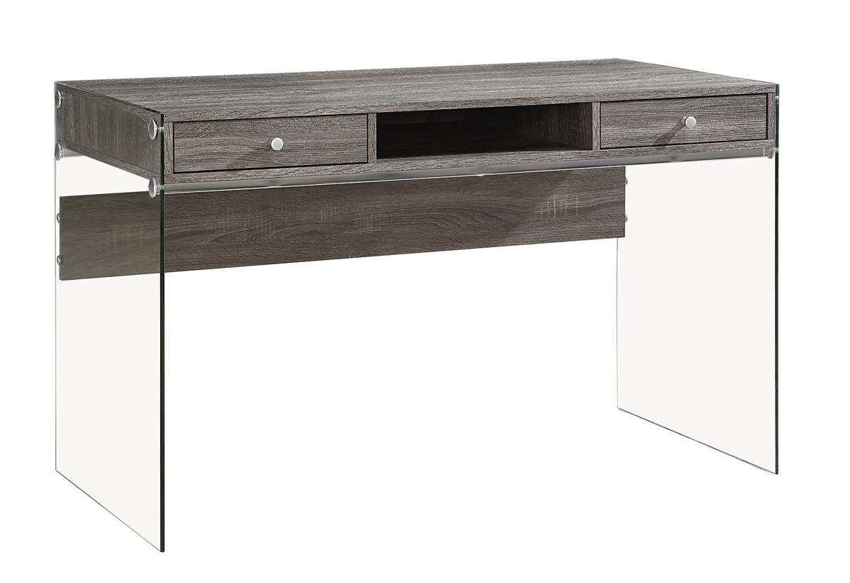 Surprising Coaster Furniture Weathered Grey Wood Glass Computer Desk Short Links Chair Design For Home Short Linksinfo