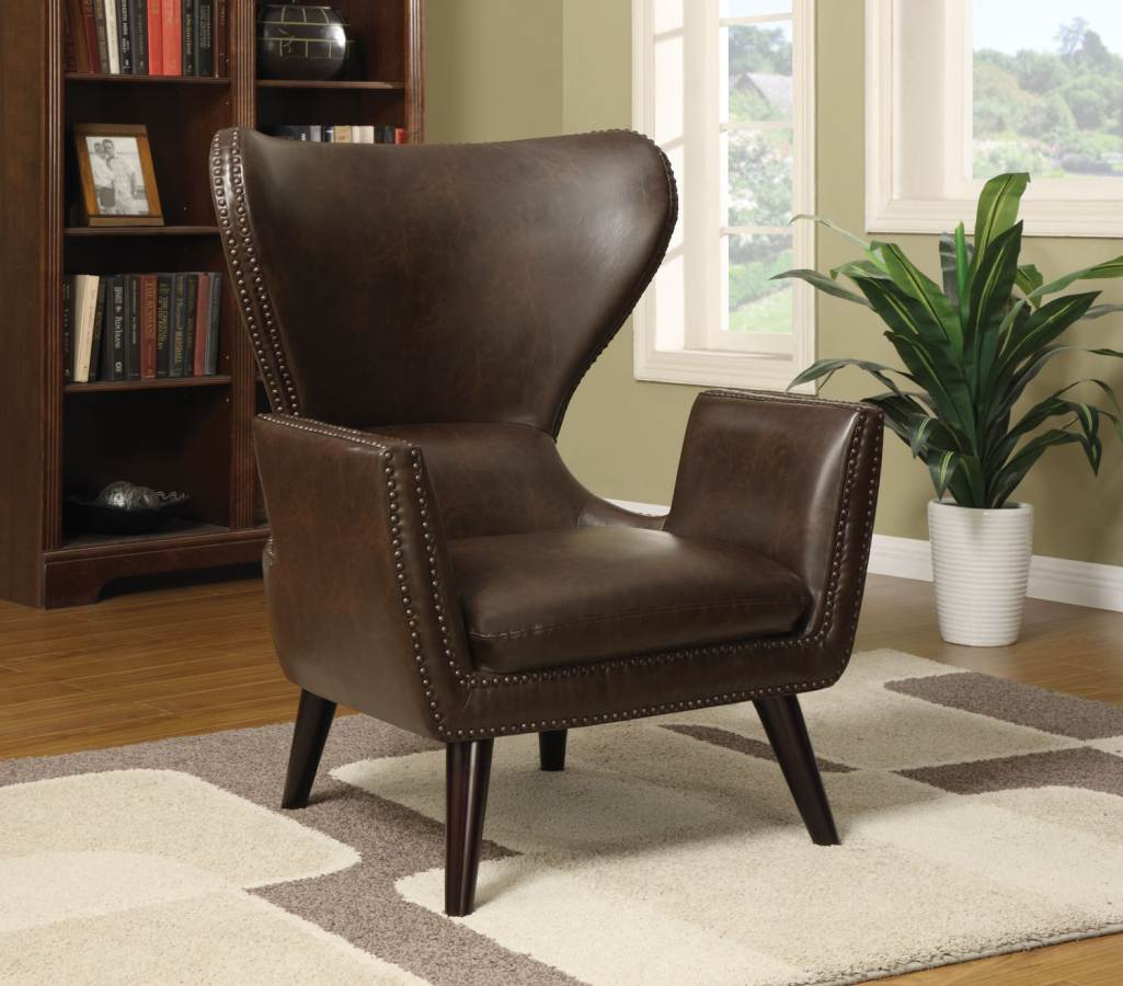 Coaster furniture brown leatherette accent chair with for Accent traditional chaise by coaster