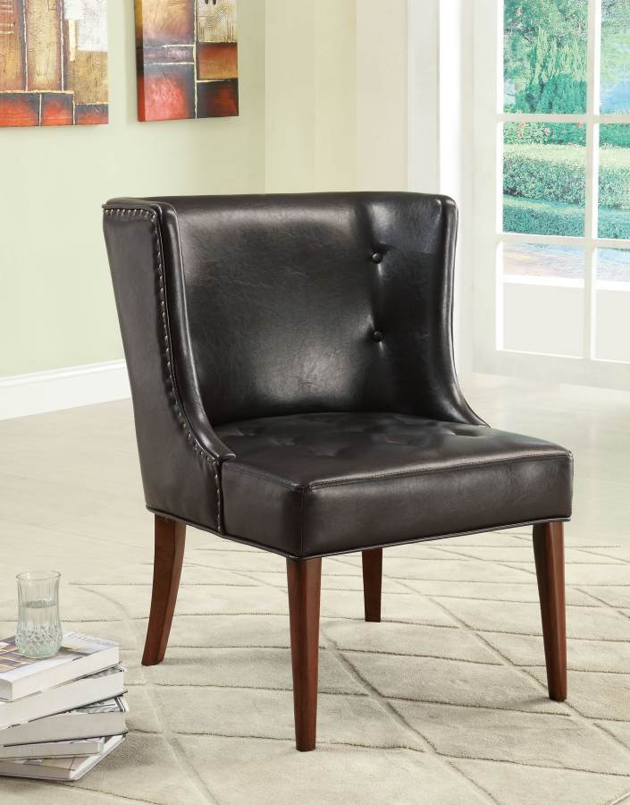 Transitional Black Accent Chair