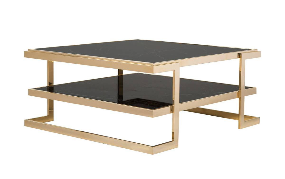 Curations Deco Black Gold Coffee Table