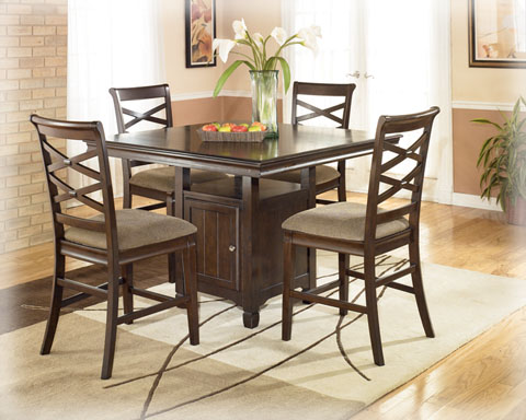 Hayley Contemporary Dark Brown Square Counter Height Table