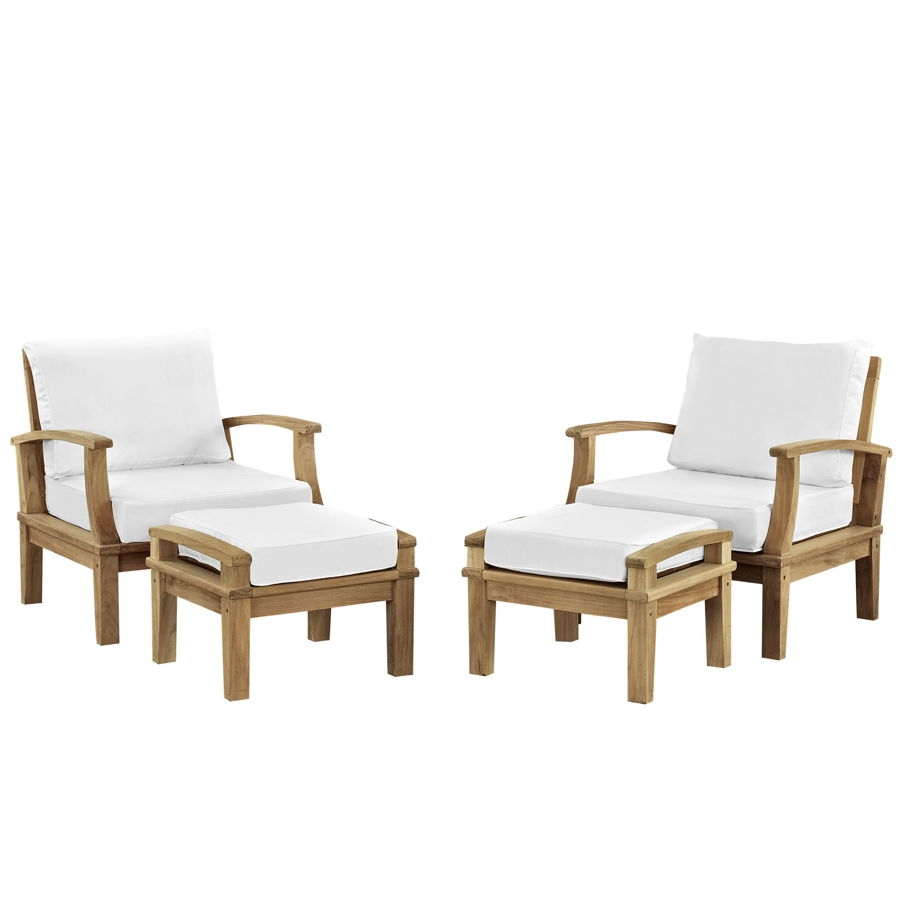 Modway Furniture Marina White 4pc Outdoor Teak Chair And Ottoman Set | The  Classy Home