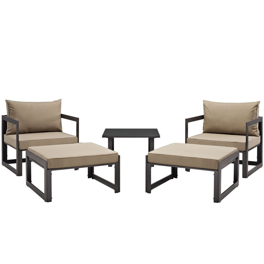 Modway Furniture Fortuna Brown Mocha 5pc Outdoor Chair And Ottoman Set |  The Classy Home