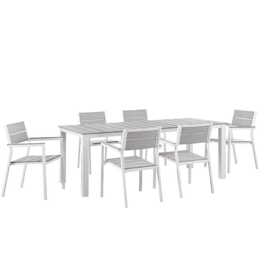 Pleasant Modway Furniture Maine White Light Gray 7Pc Outdoor Patio Dining Set Interior Design Ideas Gentotryabchikinfo