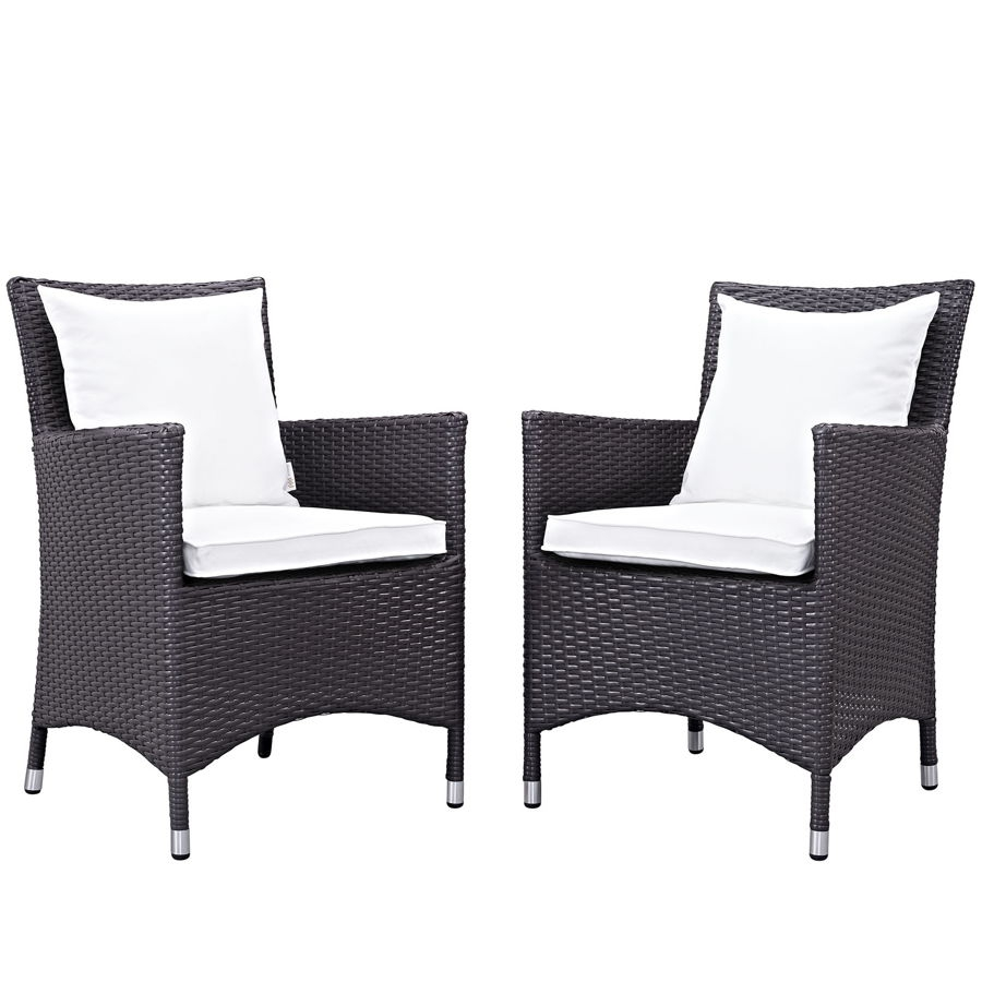Sensational 2 Modway Furniture Convene Espresso White Outdoor Patio Dining Chairs Alphanode Cool Chair Designs And Ideas Alphanodeonline