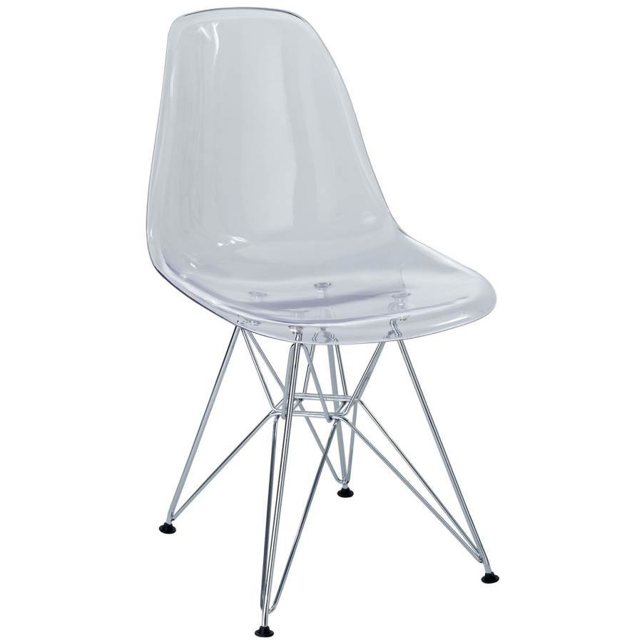 Eiffel Clear Plastic Chrome Dining Side Chair Kitchen  : EEI 220 CLR from www.theclassyhome.com size 900 x 900 jpeg 35kB
