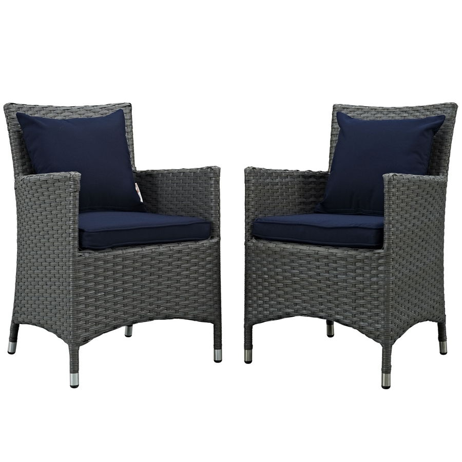 2 Modway Furniture Sojourn Navy Outdoor Sunbrella Dining