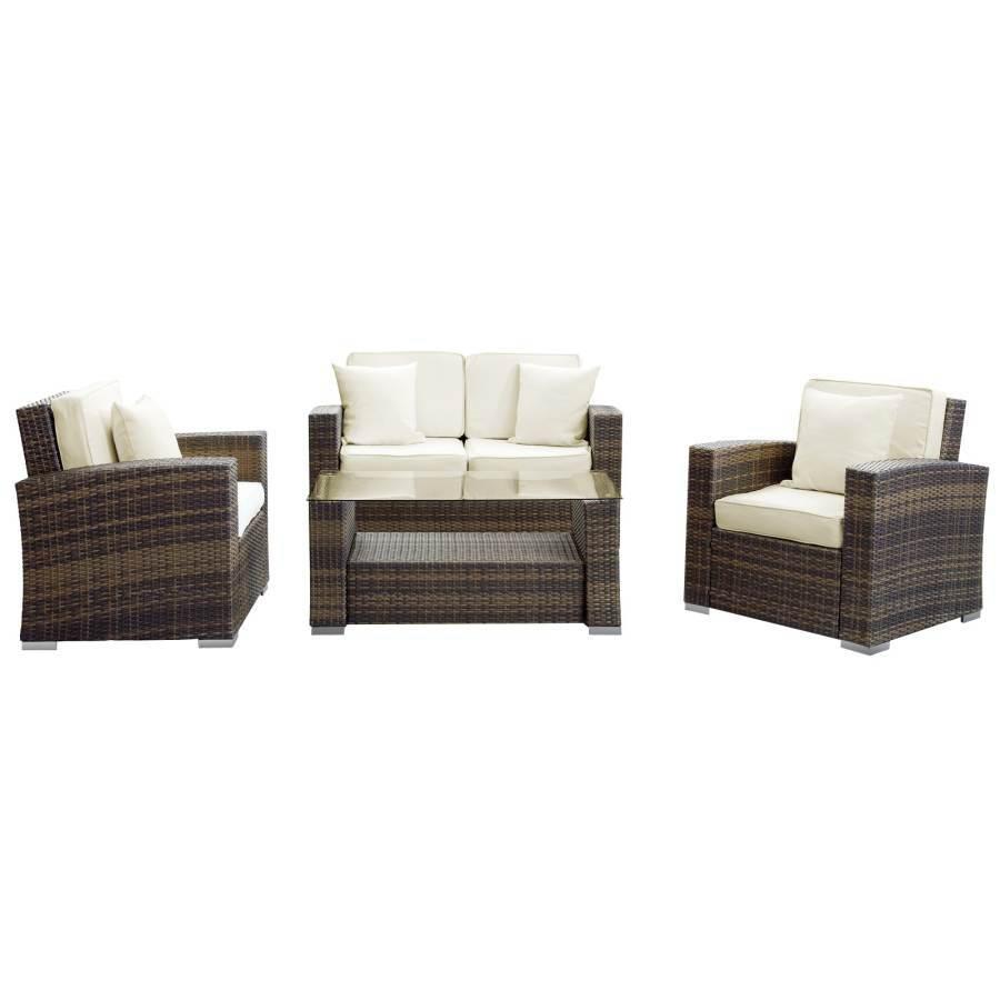 Incredible Brown Synthetic Rattan Weave W White Cushion Carmel 4Pc Sofa Theyellowbook Wood Chair Design Ideas Theyellowbookinfo